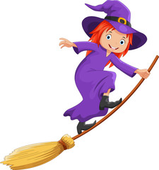 Vector illustration of cute cartoon witch flying on a broomstick