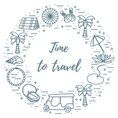 Vacation and travel elements arranged in a circle.