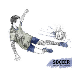 Hand sketch of soccer player with ball. Vector sport illustration. Watercolor silhouette of the athlete with thematic words. Text graphics, lettering. Active people. Recreation lifestyle.