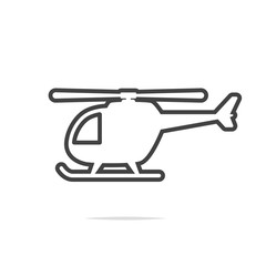 Helicopter line icon vector transparent