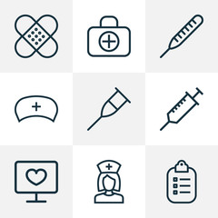 Antibiotic Outline Icons Set. Collection Of Thermometer, Fist Aid, Nurse And Other Elements. Also Includes Symbols Such As Injection, Record, Plaster.
