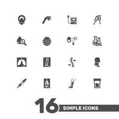Set Of 16 Medical Icons Set.Collection Of Flask, Urine Tester, Spine And Other Elements.