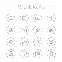 Set Of 16 Trade Outline Icons Set.Collection Of Promotion, Advertising Agency, Research And Other Elements.