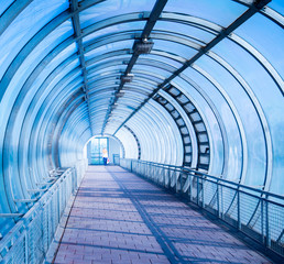 blue air pedestrian tunnel