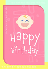 Happy birthday card with smiley face / Vector icon of happy birthday card with smiley face