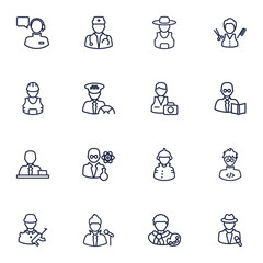 Set Of 16 Professions Outline Icons Set.Collection Of Barber, Soldier, Reporter And Other Elements.
