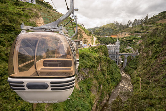 cablecar ride to the famous cathedral built over a canyon is very popular with the tourists