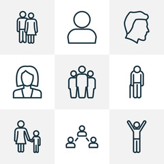 People Outline Icons Set. Collection Of Business, Profile, Rejoicing And Other Elements. Also Includes Symbols Such As Old, Oldster, Businesswoman.