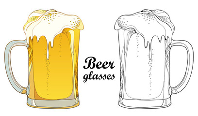 Vector outline beer mug in black and in color isolated on white background. Glasses in contour style with lager beer with foam for Oktoberfest, brewery or pub design and coloring book.