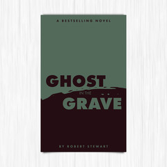 Vector of novel cover with ghost in the grave text/ Vector of novel cover with ghost in the grave text against white background