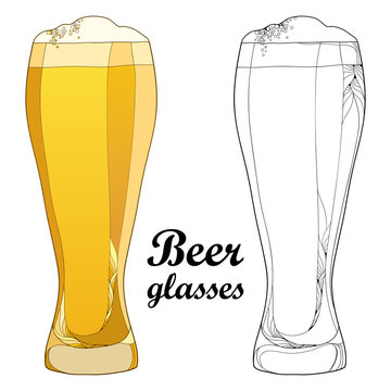Vector outline beer glass in black and in color isolated on white background. Glasses in contour style with lager beer with foam for Oktoberfest, brewery or pub design and coloring book.