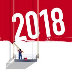 2018 - année - carte de vœux - présentation - objectif - projet - challenge - entreprise