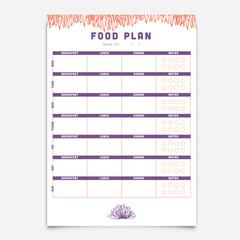 Food planner template /  Vector of food planner template