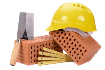 Handwerkszeug für Maurer und Hausbau isoliert