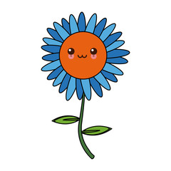 kawaii blue flower natural decoration cartoon vector illustration