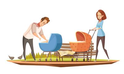 Parenthood Oudoor Retro Cartoon Poster