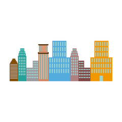 panorama picture of city skyline architecture vector illustration