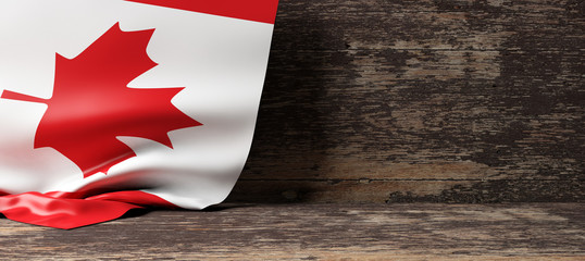 Papiers peints Canada Canada flag on wooden background. 3d illustration
