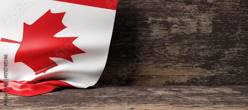 Canada flag on wooden background. 3d illustration