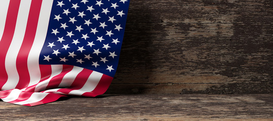 USA flag on wooden background. 3d illustration