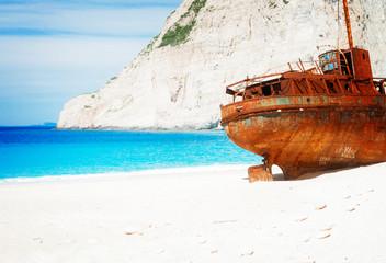 Poster Naufrage white sand of Navagio Shipwreak beach of Zakinthos island, Greece, retro toned