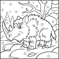 cartoon woolly rhino coloring book