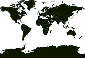 Carte du monde noire avec antarctique