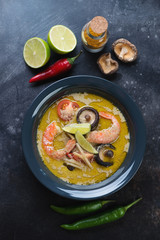 Plate of spicy green curry thai soup and some of its cooking ingredients on a dark metal background, above view