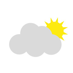 Icon weather . The sun behind the clouds . Vector illustration .