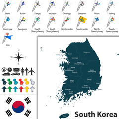 Map of South Korea with Divisions