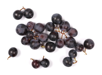 Dark grapes, isolated on white background, top view