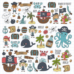Vector pirates Children cartoon illustration Kids drawing style for kids party in pirate style Octopus, pirate ship, sailor, boy, girl, treasure island