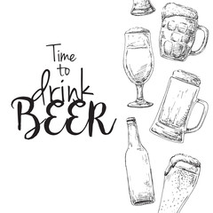 Background with beer. Caption: time to drink beer. Place on your text. Vector illustration of a sketch style.