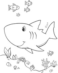 Poster Cartoon draw Cute Shark Vector Illustration Art
