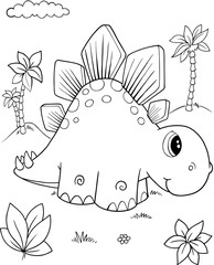 Poster Cartoon draw Cute Stegosaurus Dinosaur Vector Illustration Art