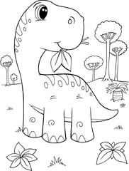 Foto auf Acrylglas Cartoon draw Cute Brachiosaurus Dinosaur Vector Illustration Art