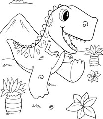 Tuinposter Cartoon draw Cute Tyrannosaurus rex Dinosaur Vector Illustration Art