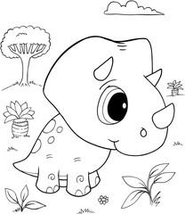 Cute Baby Triceratops Dinosaur Vector Illustration Art
