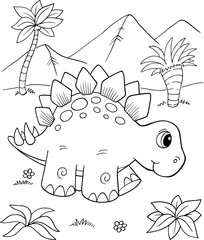 Stores à enrouleur Cartoon draw Cute Stegosaurus Dinosaur Vector Illustration Art