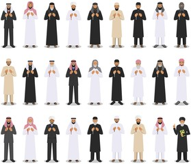 Prayer time. Different standing praying muslim arabic people and mullah in traditional arabian clothes. Mufti with quran. Islamic men with beads in hands pray. Vector illustration.