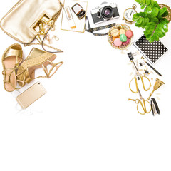 Fashion flat lay Feminine accessories bag shoes office desk