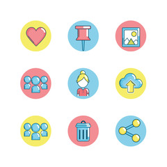 set social medio technology connection vector illustration