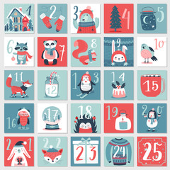 Wall Mural - Christmas advent calendar, hand drawn style. \