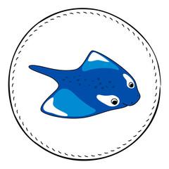 Manta isolated on white background. Blue manta or skate cartoon vector illustration.