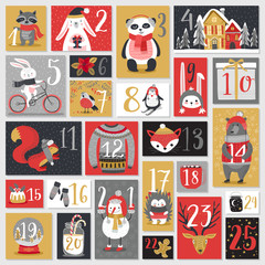 Wall Mural - Christmas advent calendar, hand drawn style.