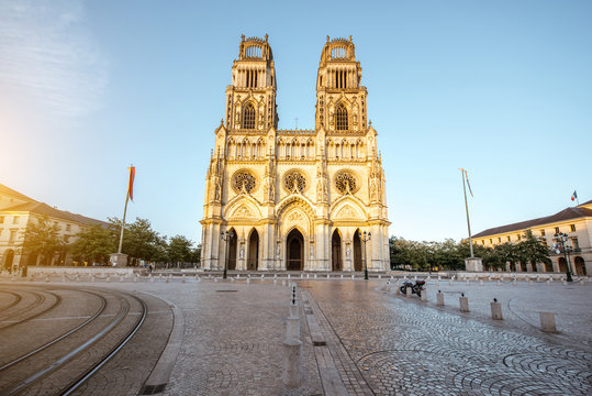 View on the saint Croix cathedral in Orleans city during the sunset in central France