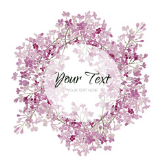 Vintage watercolor vector floral card with lilac. Romantic wedding background with round frame. Natural design.