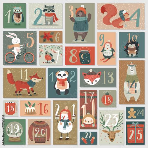 Wall mural Christmas advent calendar, hand drawn style.