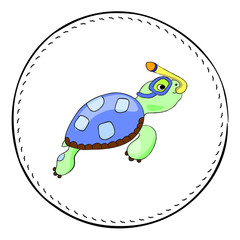 Snorkel turtle isolated on white background. Sea turtle cartoon vector illustration.
