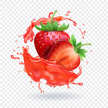 Strawberry realistic juice Fresh fruit splash vector icon